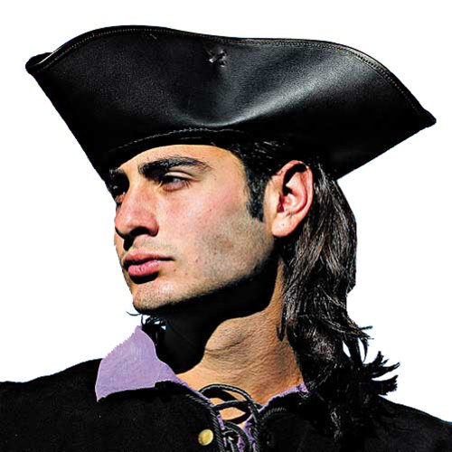 Capt. Jack Tricorn Leather Pirate Hat (Large/X-Large, Black) ()