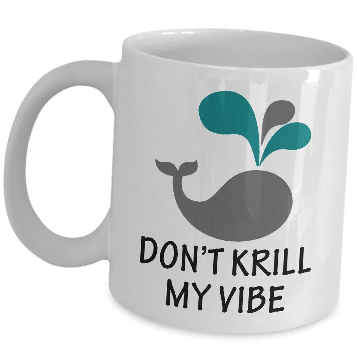 jingqi Marine Biologist Mug Coffee Tea Cup - Sea Life Biology Funny Cute Gag Graduate Student Scientist Appreciation Enthusiasts Gifts for Teens Adults - Dont Krill My Vibe