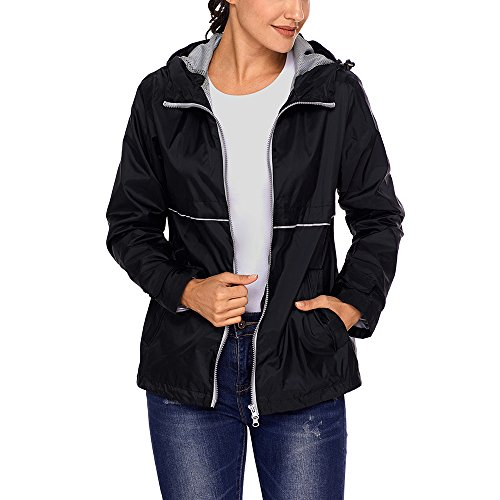 - SEBOWEL Women's Raincoat Lightweight Waterproof Rain Jacket Hoodie Active Casual Coat Black XXL