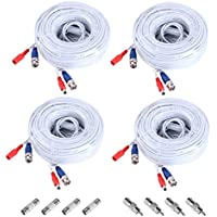 Annke 4 Pack 60 Feet BNC Video Power Cable Security Camera Wire Cord for CCTV DVR Surveillance System(White)