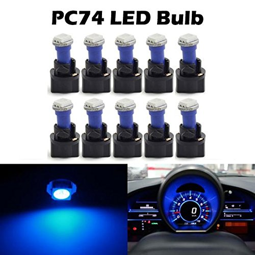 Partsam T5 73 74 5050 SMD Instrument Panel LED Light Gauge Cluster Indicator Bulbs Dash Light with Twist Socket, Blue, Pack of 10 (2012 Mitsubishi Galant Dash Kit compare prices)