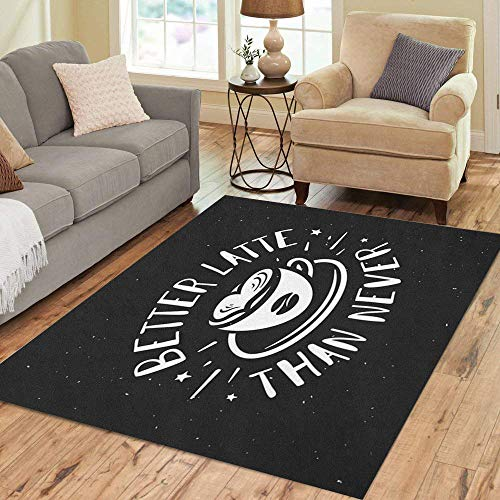 - Pinbeam Area Rug Better Latte Than Never Coffee Related Cafe Cup Home Decor Floor Rug 2' x 3' Carpet