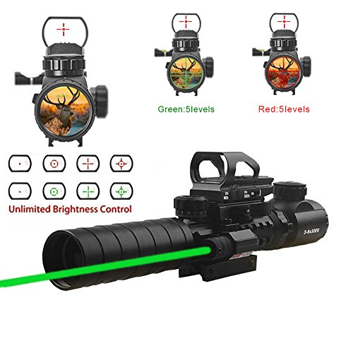Hunting Rifle Scope 3-9x32mm with Red Dot Sight of Red / Green Reticle Mount Compact High Riser - High 3 Riser