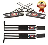 Weightlifting Wrist Wraps + FREE Padded Lifting Straps. Reduce Injury With Adjustable Wrist Brace Supports ideal for Men & Women-Crossfit-Powerlifting-Home Gym Weight lifting Workouts. 1 Year Warranty