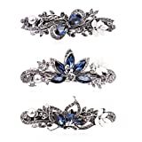 Cubaco 3 Pack Crystal Rhinestones Barrettes French Hair Clip French Clip Flower Design Hair Clips Barrette Bridal Wedding Evening Party Jewelry Accessory for Women Girls