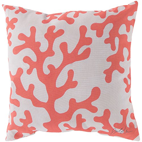 Surya RG038-2020 Indoor/Outdoor Pillow, 20-Inch by 20-Inch, Coral/Beige ()