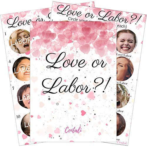 Baby/Bridal Shower Games (25 Pack) High Premium Quality Fun Labor or Loving Games- for Gender Reveal Party, Baby Shower, Babys Birthday, Engagement, Wedding, Bachelorette Party. For Adults, Men, Women