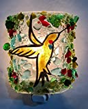 Hummingbird Fused Recycled Bottle Glass Functional Art Night Light, Nightlight. Nite Lite, Nitelite
