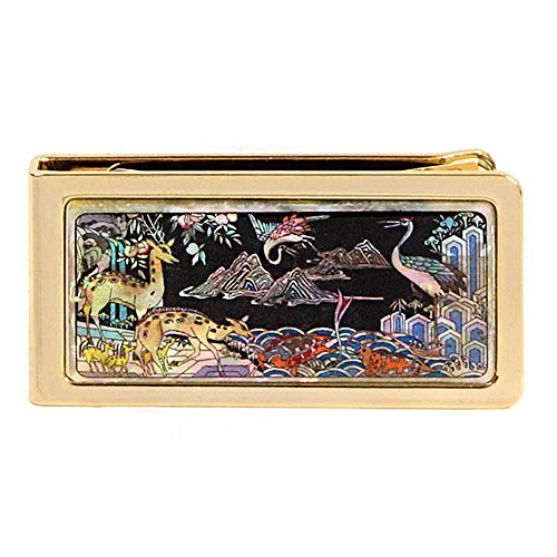 PALBOCK Mother of Pearl Slim Stainless Steel Cash Money Clip Credit Business Card Holder (Napa Leather Magnetic Money Clip)