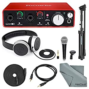 Focusrite Scarlett 2i2 USB Audio Interface (2nd Generation) with Deluxe Accessory Bundle Including Samson VP10X- Microphone Value Pack, Samson Studio Headphones, and an Auxiliary Cable