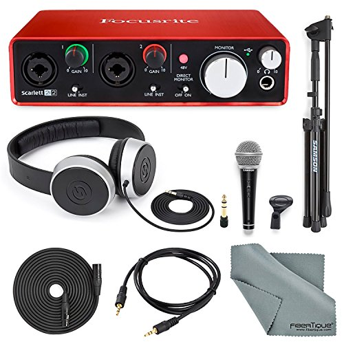 Focusrite Scarlett 2i2 USB Audio Interface (2nd Generation) with Deluxe Accessory Bundle Including Samson VP10X- Microphone Value Pack, Samson Studio Headphones, and an Auxiliary Cable by Focusrite