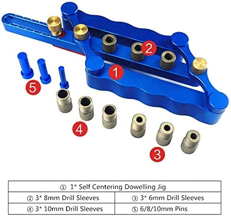 6/8/10mm Dowel Jig Self-Centering Dowelling Jig Dowel Precise Hole Puncher Locator Drill Guide Woodworking Tool(Red)