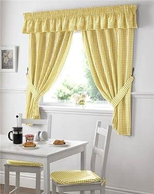 Amazonde Küchen Vorhänge Und Sitzkissen Vichy Muster Gelb