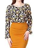 Regna X Women's Long Sleeve Flowy Round Neck Relaxed fit Blouses Yellow Print 2XL