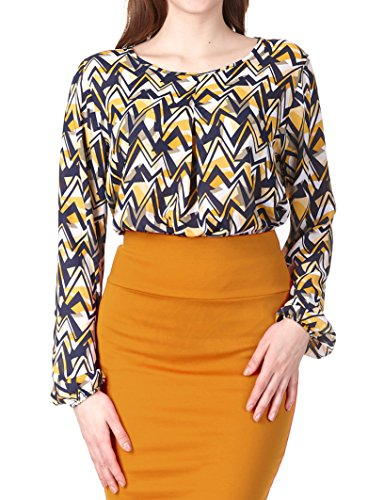 Regna X Women's Long Sleeve Flowy Round Neck Relaxed Fit Blouses Yellow Print (Blouse Love Label)