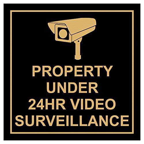 All Quality Square Property Under 24HR Video Surveillance Wall/Door Sign - Black/Gold (Medium)