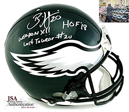e35a2b414a7 Brian Dawkins Autographed Signed Philadelphia Eagles Riddell Authentic NFL  Helmet With 3 Career Stat Inscription