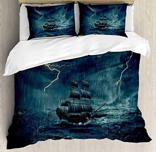 Ambesonne Landscape Duvet Cover Set, Stormy Rainy Weather Waves Pirate Vintage Ship Sailing Theme Oil Paint, A Decorative 3 Piece Bedding Set with Pillow Shams, Queen/Full, Blue White ()