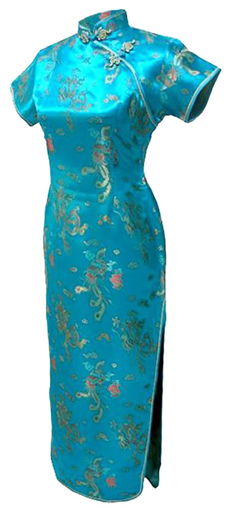 7Fairy Women's Vtg Turquoise Dragon Long Chinese Dress Cheongsam Size 4 US