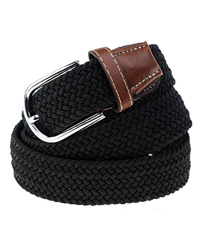 NYfashion101 Rounded Metal Buckle Brown Inlay Elastic Braided Woven Stretch Belt, Black - L - Woven Elastic Belt