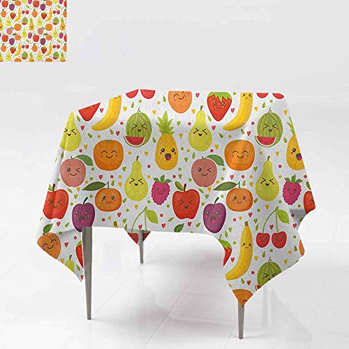 AndyTours Tablecloth for Kids/Childrens,Fruits,Smiling Banana Funny Mulberry Happy Apricot Peach Hearts Lemons Kids Nursery Theme,Great for Buffet Table, Parties& More,50x50 Inch Multicolor (Happy Fish Apricot)