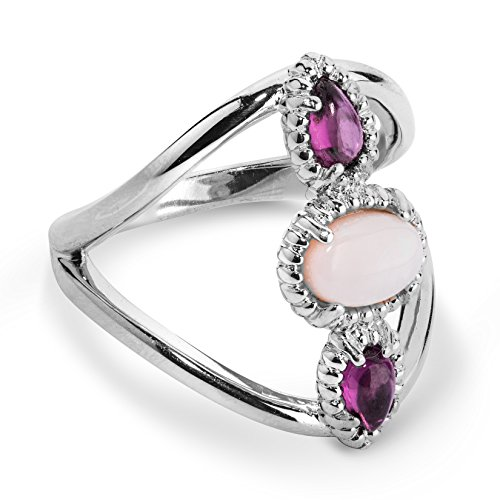 - Carolyn Pollack Sterling Silver Opal and Rhodolite Garnet Three Stone Ring Size 10