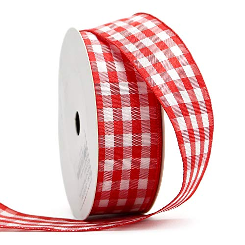 (Midi Ribbon Red Gingham Woven Edge Ribbon, 1