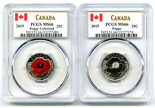 2015 Canada POPPY FLANDERS FIELDS REMEMBRANCE TWO COIN QUARTER SET PCGS COLOR AND NON-COLOR MS66 ()