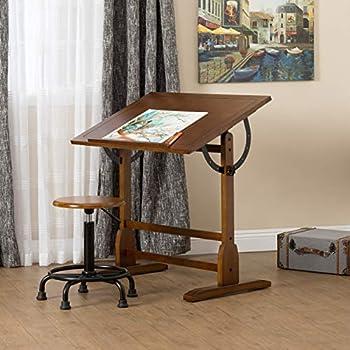 Amazoncom STUDIO DESIGNS In Vintage Drafting TableRustic Oak - Drafting table standing desk