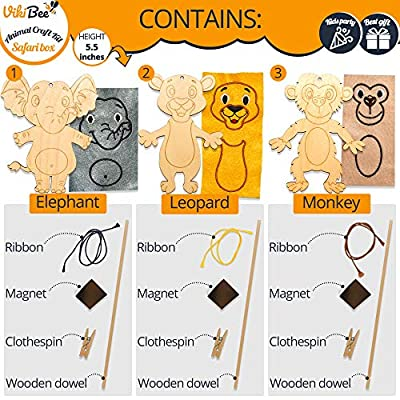 VikiBee Unfinished Wood Crafts - Kids Crafts - Wooden Craft Paint Kit for Kids - Learning Toys - Wooden Crafts to Paint - Zoo Animals Unique Gift - Paintable Crafts for Kids: Home & Kitchen
