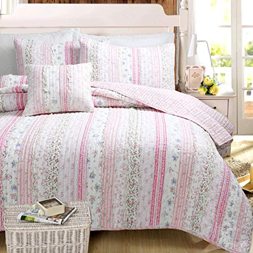 (Cozy Line Home Fashions Pink Rose Blue Flower Floral Printed Lace Stripe 100% Cotton Bedding Quilt Set Reversible Coverlet Bedspread (Pink Lace, Full/Queen -3 Piece))