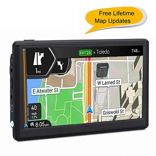 Car GPS, 7 inches 8GB Navigation System for Cars Lifetime Map Updates Touch Screen Real Voice Direction Vehicle GPS -