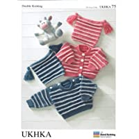Baby Double Knitting DK Pattern - UKHKA 75 Striped Sweater Cardigan & Tassel Hat