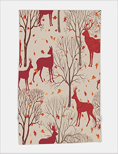 Minicoso Bath Towel Animals in autumn forest pattern Fall leaves and trees seamless background Deer Vintage Christmas elements Reindeer seamless pattern background Editable ve For Spa Beach Pool Bath (Blank Tree Outline Christmas)