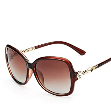 Burenqiq Gafas de Sol polarizadas Gafas de Sol Grandes de Las Mujeres del Marco Gafas de
