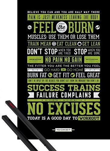 1art1 Motivación Póster 91x61 Cm Fitness Frase