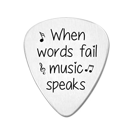 When Words Fail Music Speaks (with music symbols) Guitar Pick- Jewelry Gift  for Musician Husband Boyfriend Fiance