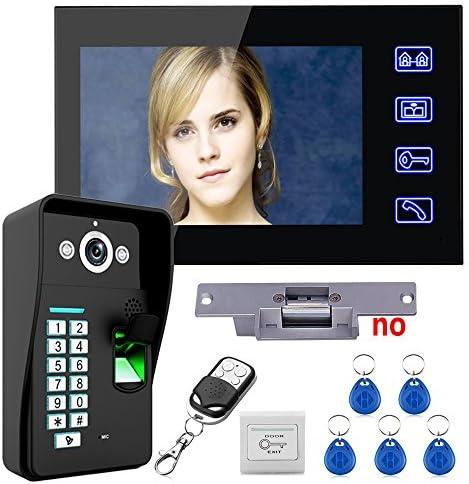 タッチキー7インチ液晶指紋認識ビデオドア電話インターホンシステムキット+ NO電気ストライクロック+ワイヤレスリモコンロック解除