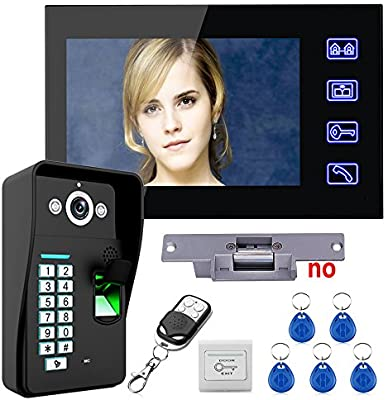 7 Inch Video Doorbell Intercom System Doorbell Fingerprint