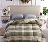 Comforter bed quilt down alternative quilted warm thick single double spring autumn winter student dormitory-D 200x230cm(79x91inch)