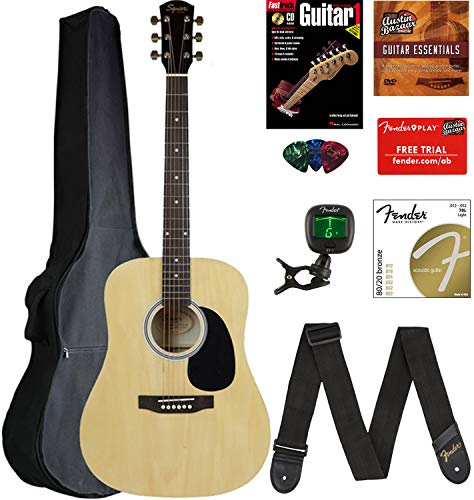 Fender Squier Dreadnought Acoustic Guitar - Natural Bundle with Gig Bag, Tuner, Strap, Strings, Picks, and Austin Bazaar Instructional DVD