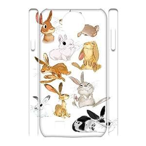 3D Yearinspace the Rabbit Art Samsung Galaxy S4 Cases, Mens Designer Samsung Galaxy S4 Cases for Girls {White}