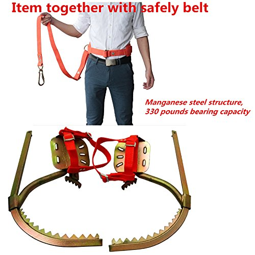 DUOSHIDA Pair of Climbers, Professional Tree Climbing Spikes Together with Safe Belt Climbing Trees and Cement Pole