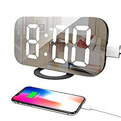 Adoric Life Digital Alarm Clock with Large 6.5 Easy Read LED Display, Easy Snooze Function, Diming Light & Night Mode, Mirror Surface, Dual USB Charger Ports (Updated 2018)