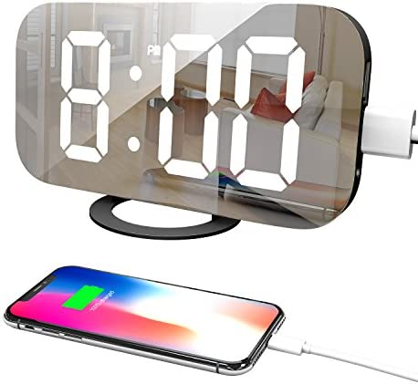 Adoric Digital Alarm Clock – 6.5 Easy Read LED Display, Easy Snooze Function, Dual USB Charger Port