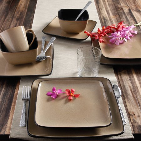 Gibson 61220.16RM Everyday Rave Square 16-Piece Stoneware Dinnerware Set, Taupe
