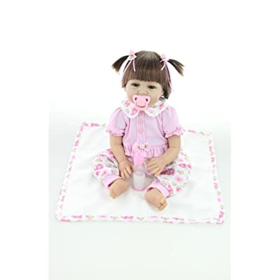 Nicery Reborn Baby Doll Soft Simulation Silicone Vinyl Cloth Body 22inch 55cm Lifelike Vivid Boy Girl Toy for Ages 3+ RD55C052: Toys & Games