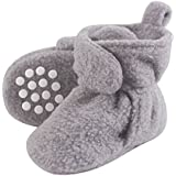 Luvable Friends Baby Cozy Fleece Booties with Non Skid Bottom, Heather Gray, 6-12 Months