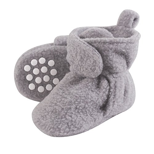 (Luvable Friends Baby Cozy Fleece Booties with Non Skid Bottom, Heather Gray, 0-6 Months)