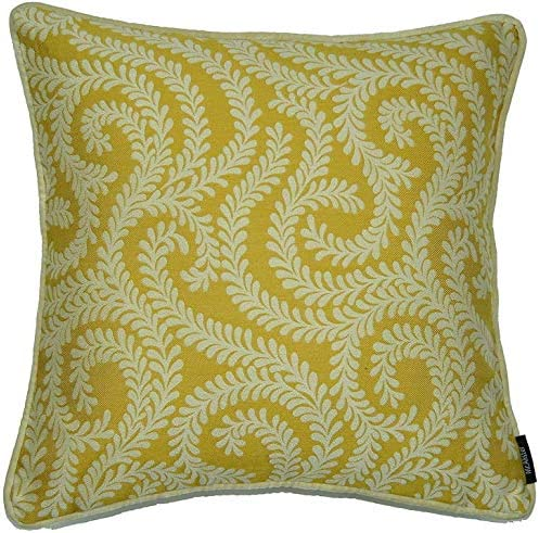 McAlister Textiles Little Leaf Woven Throw Pillow Cover in Yellow Ochre Square 16×16 Inches Floral Damask Vine Cushion Sham for Bed, Couch Chinoiseries Accent, Modern Decor
